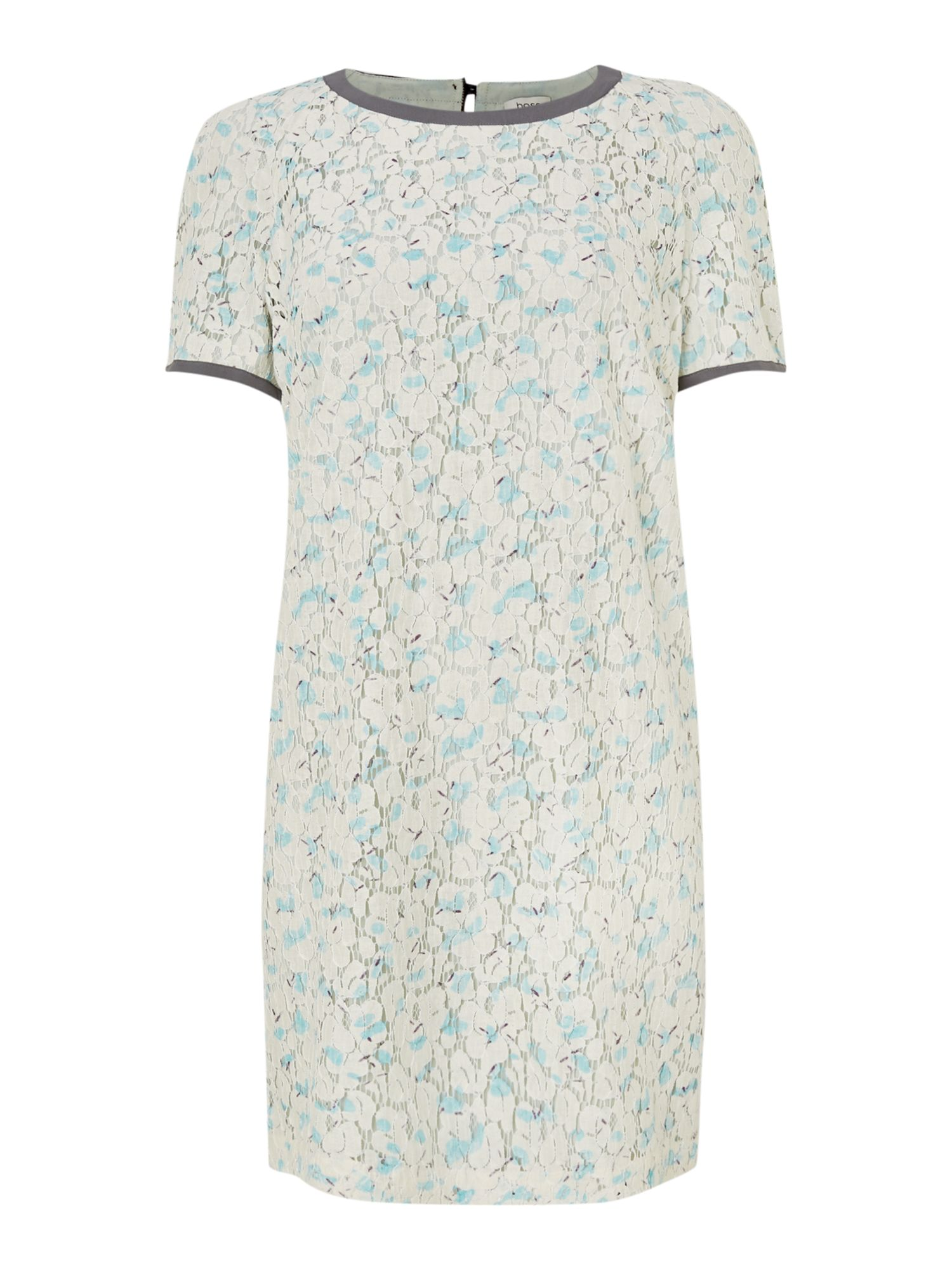 Short sleeve lace print contrast trim dress