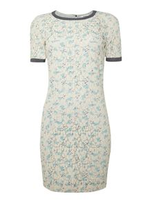 Hoss Intropia Short sleeve lace print contrast trim dress