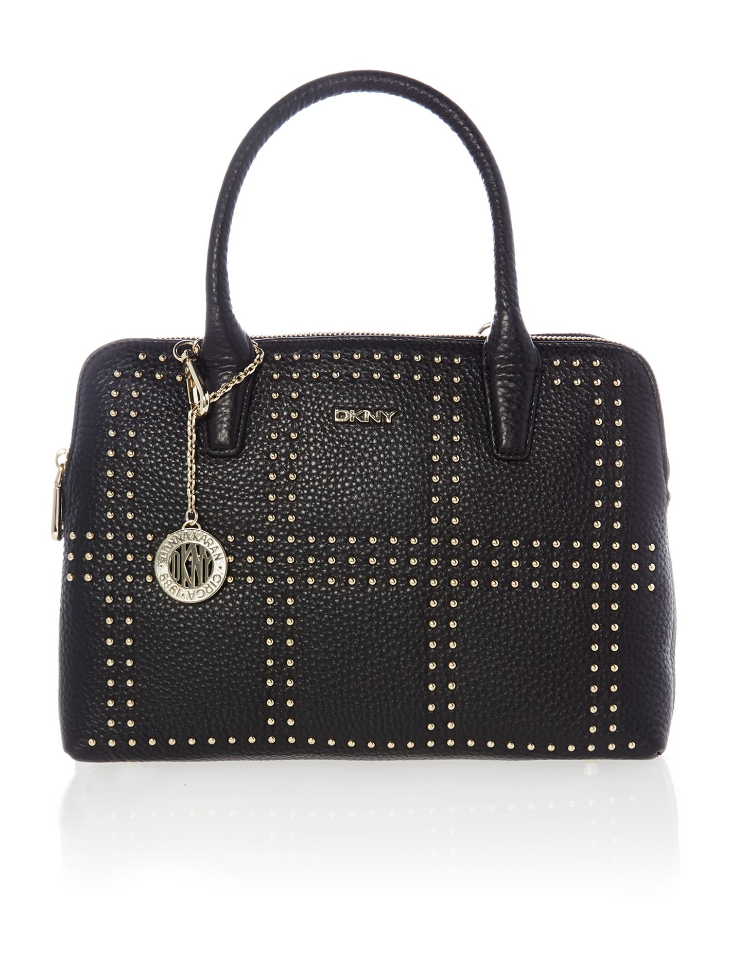 Tribeca black double zip satchel bag