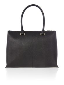 Saffiano black large top zip tote bag