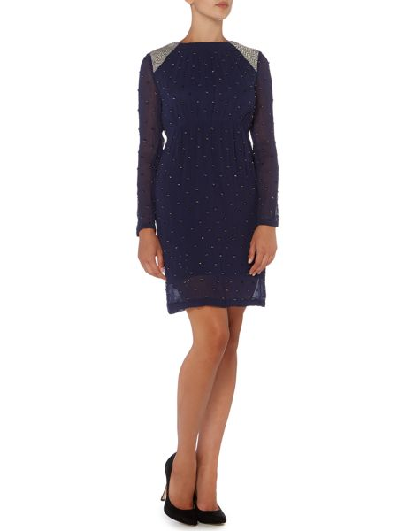 Hoss Intropia Long sleeve diamante beaded shoulder dress