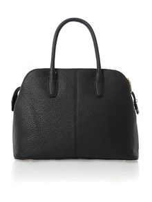 Tribeca black rounded triple zip satchel bag