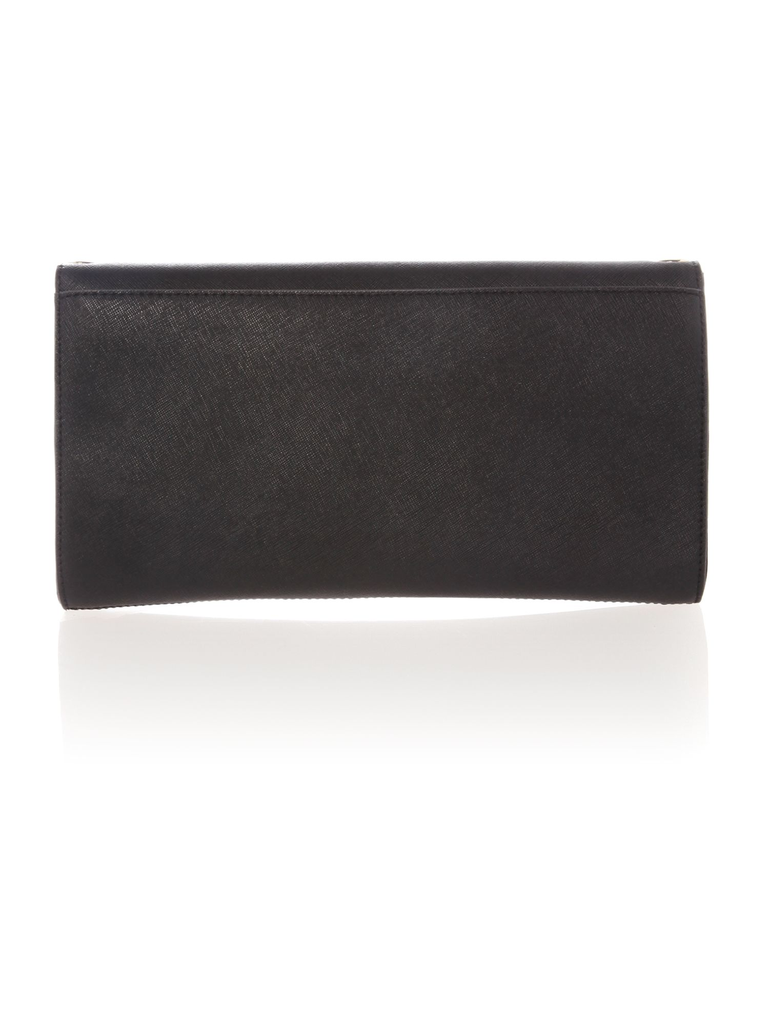 Soft saffiano black flap over clutch bag