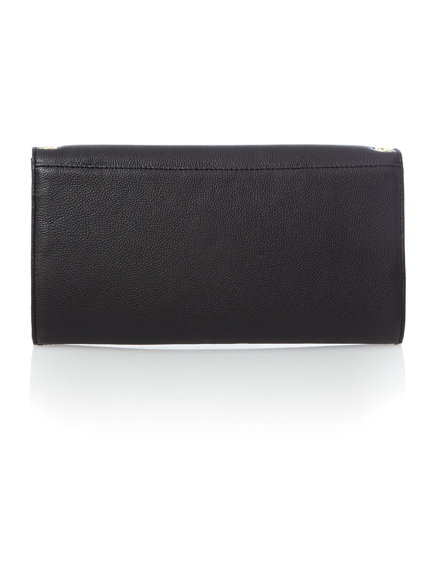 Chelsea black flap over clutch with chain detail