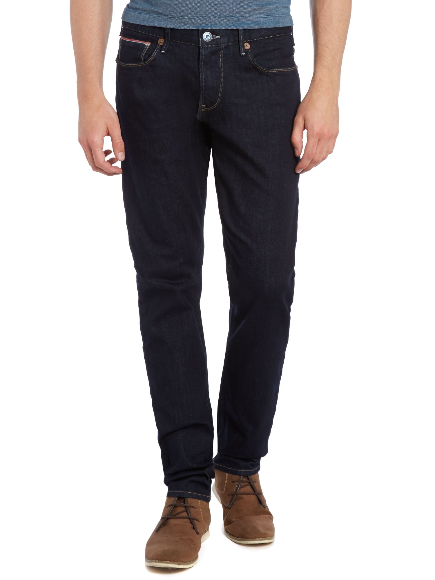 J06 slim leg tapered indigo jeans