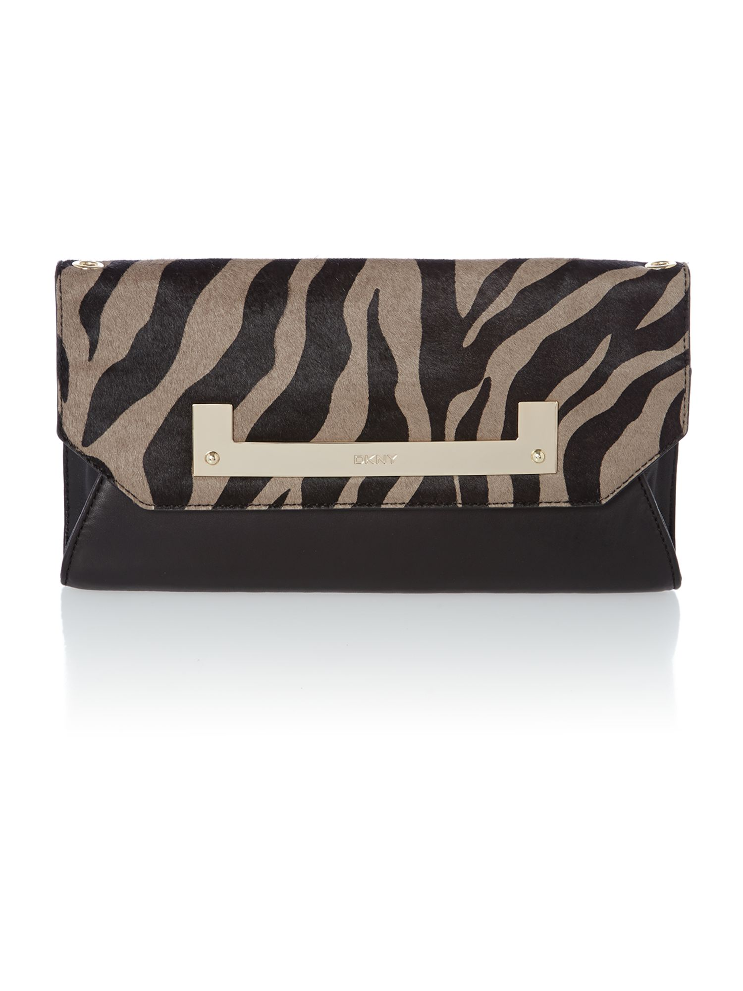Fashion multi-coloured flap over clutch bag