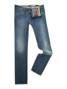 J06 slim leg tapered light wash jeans