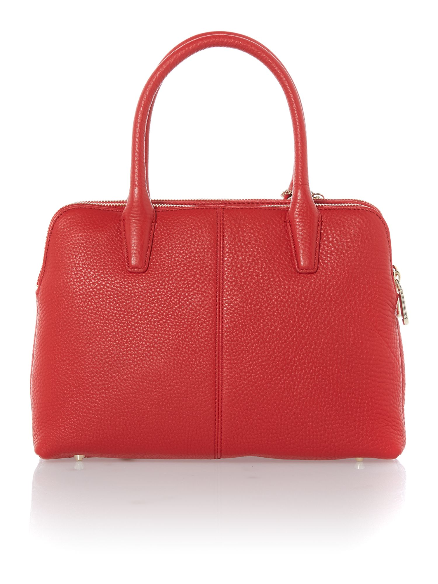 Tribeca red double zip satchel bag
