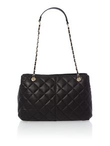 Black medium quilted chain tote bag