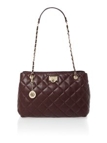 Purple medium quilted chain tote bag