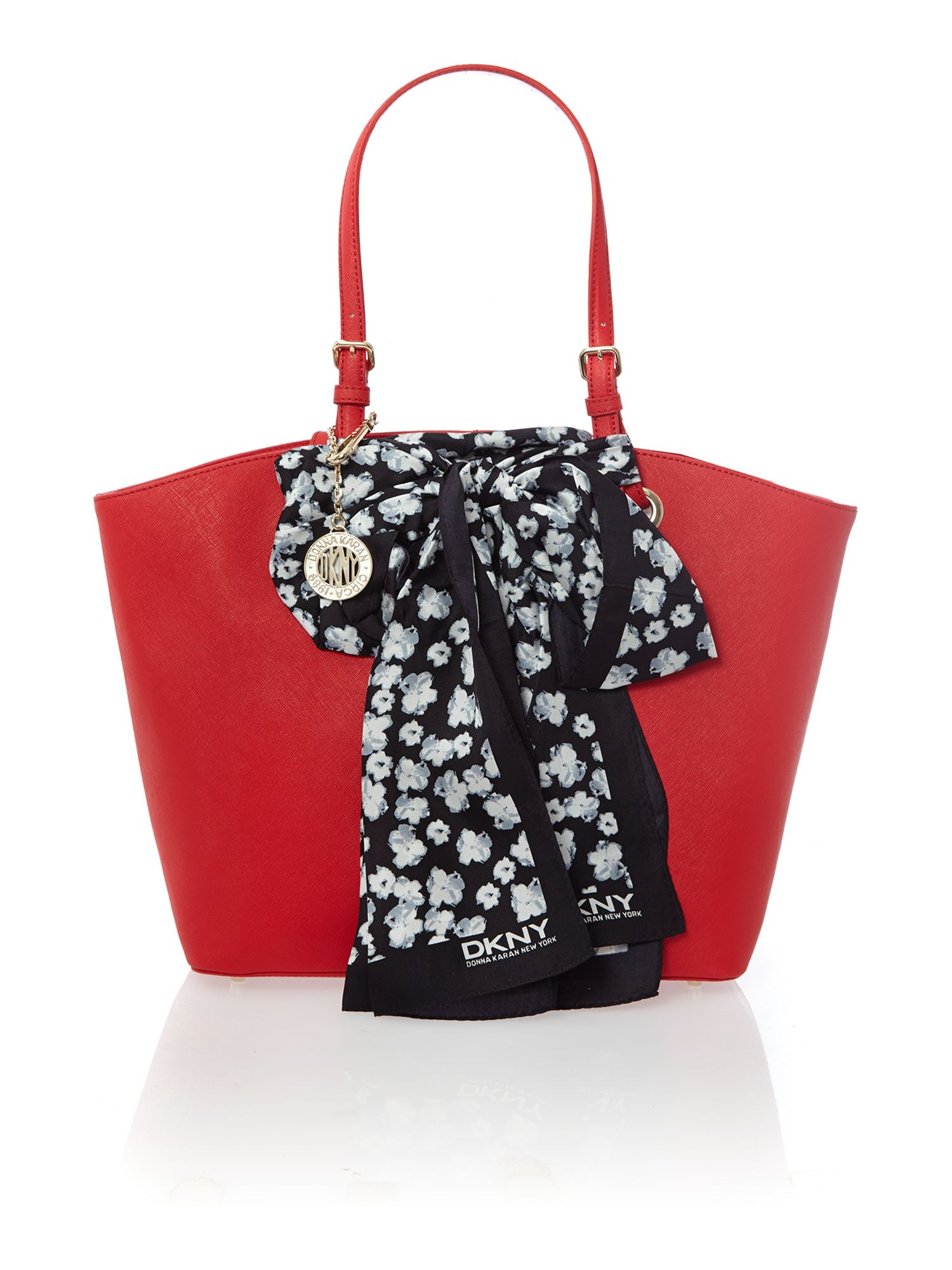 Red large scarf tote bag