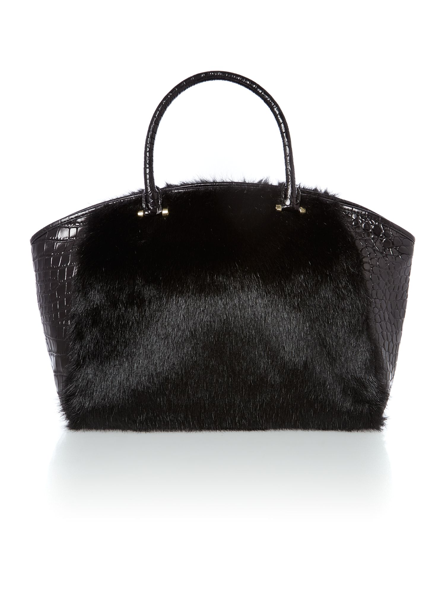 Gramercy black satchel with faux fur detail
