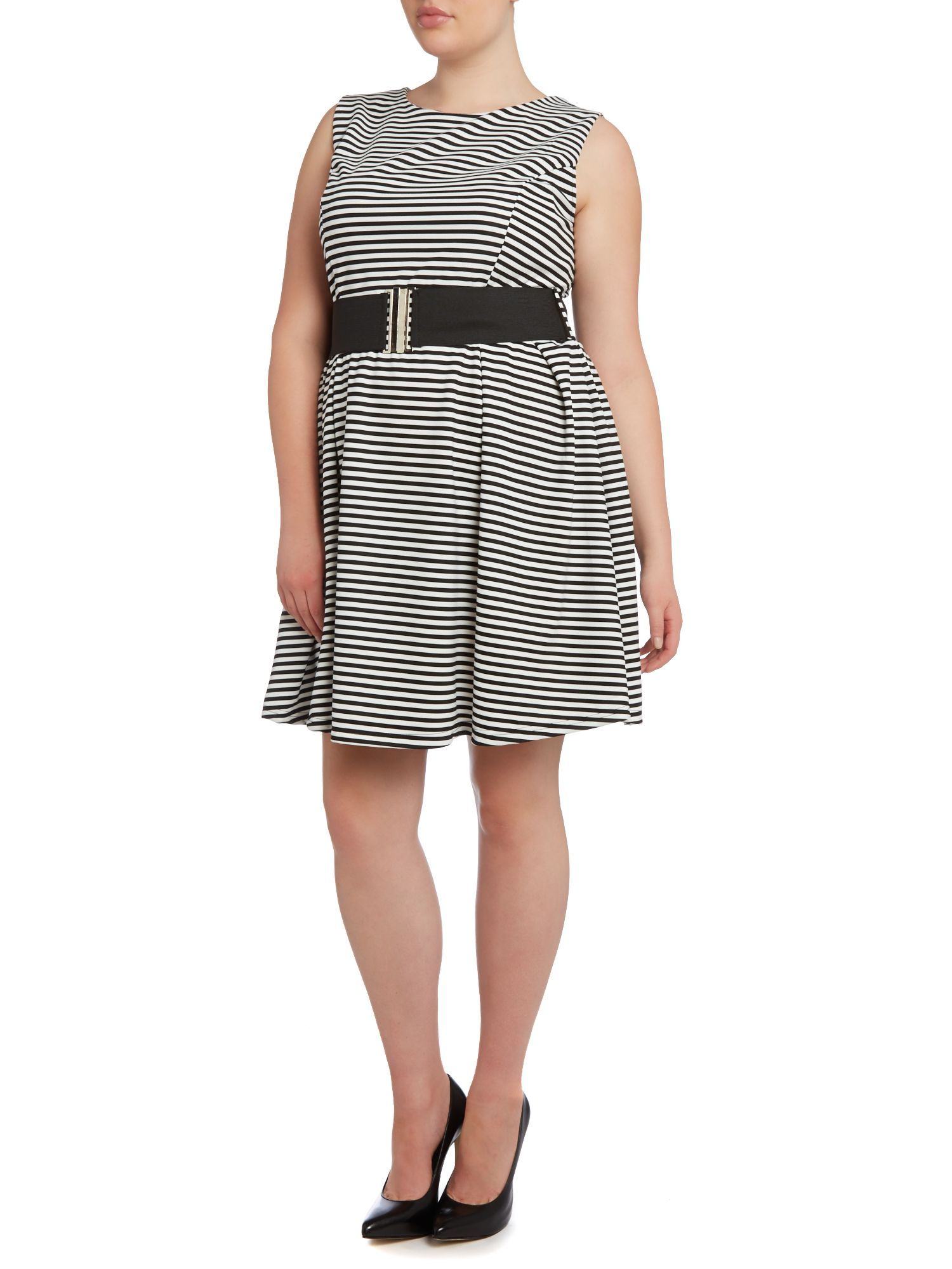 Horizontal striped skater dress