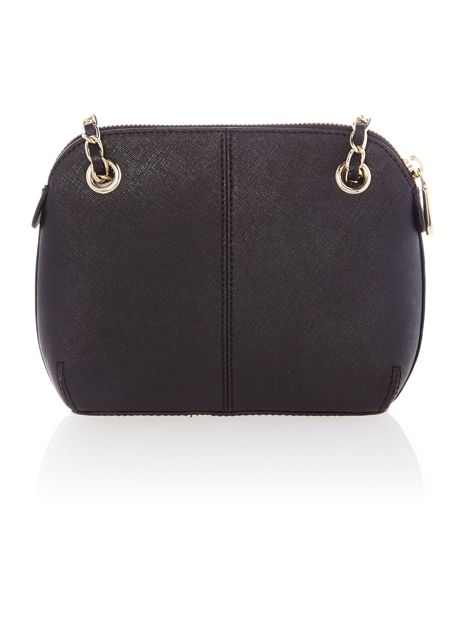 Saffiano black small rounded cross body bag