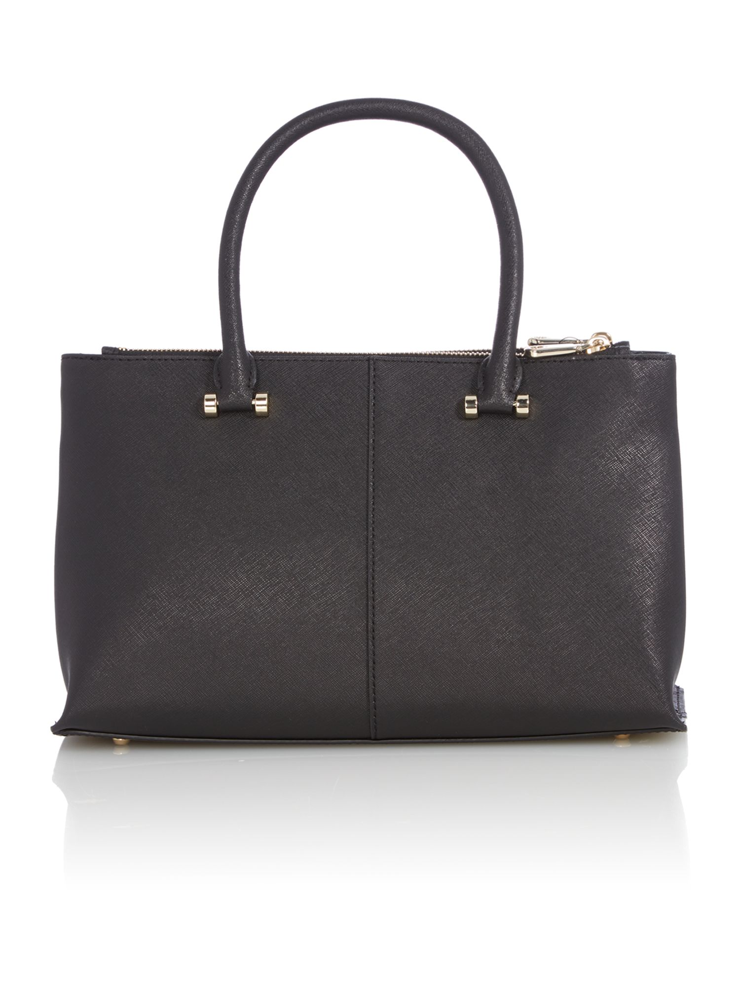 Saffiano black medium double zip tote bag