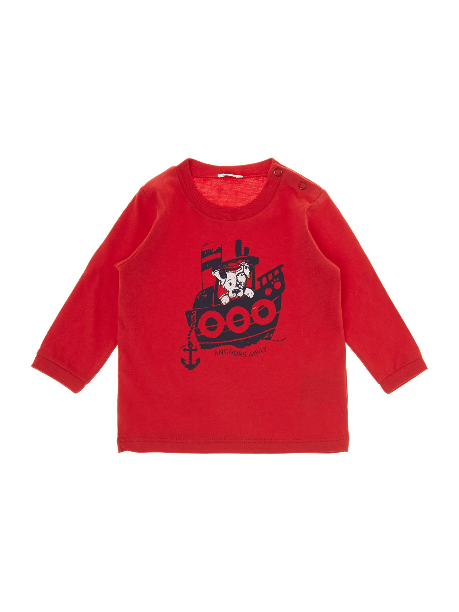 Baby boy dog on a boat graphic top