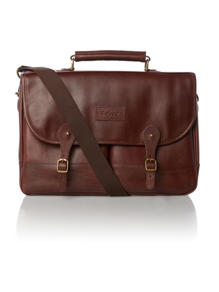 Barbour Leather chocolate briefcase