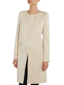 Long sleeve long coat with pleats