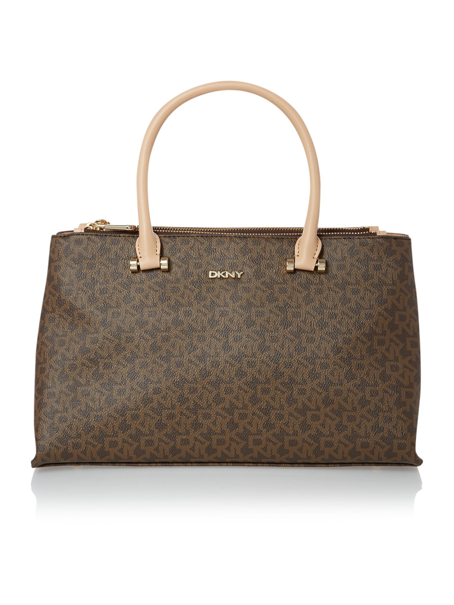 Coated logo brown double zip tote bag
