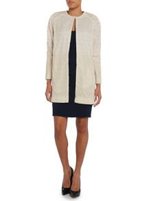 Hoss Intropia Long sleeve embroidered colarless coat