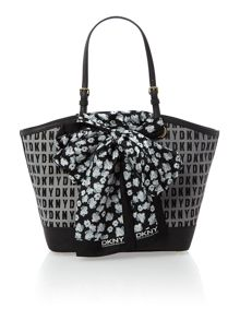Black medium scarf tote bag