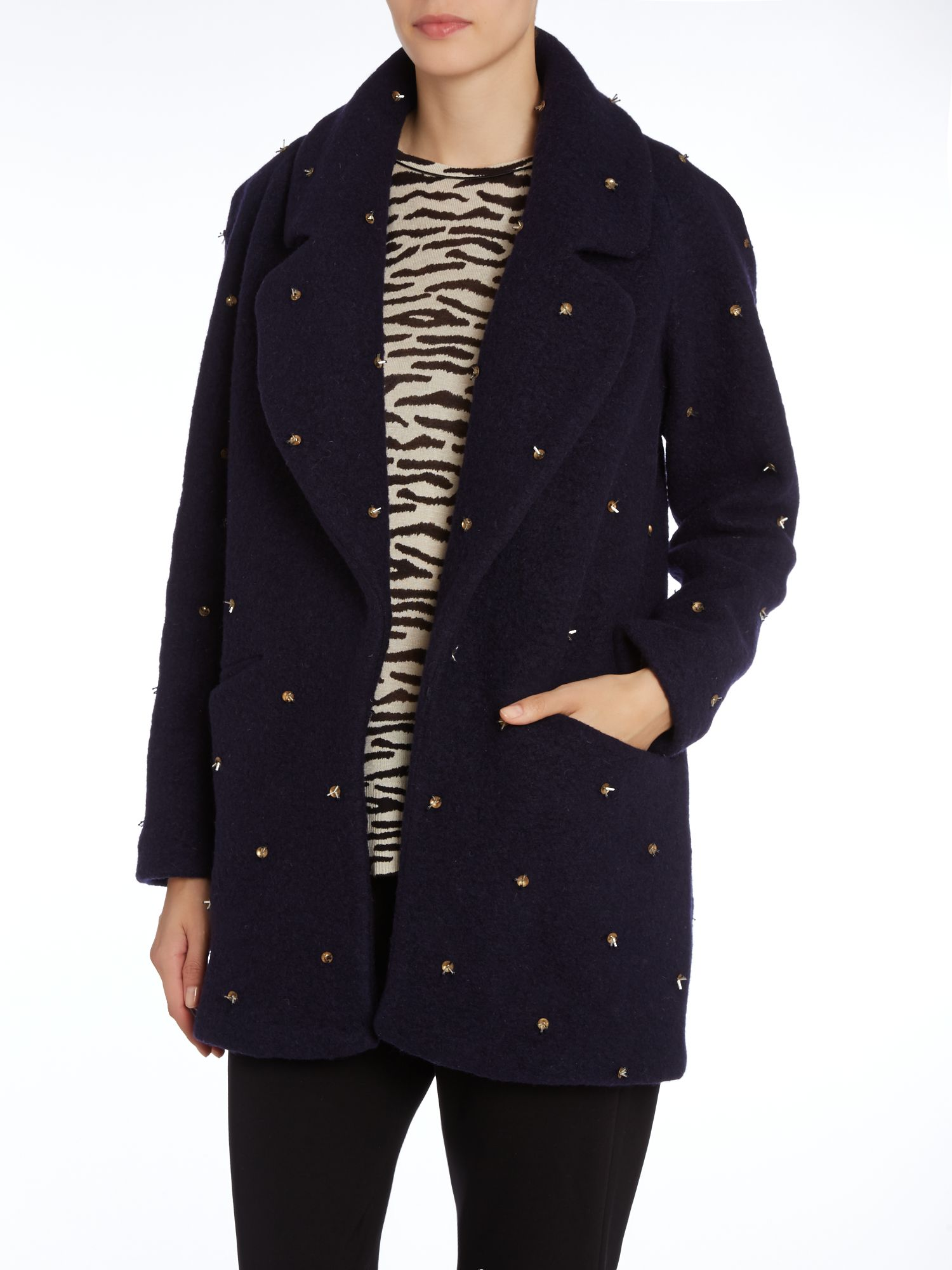 Long sleeve coat with beaded detail