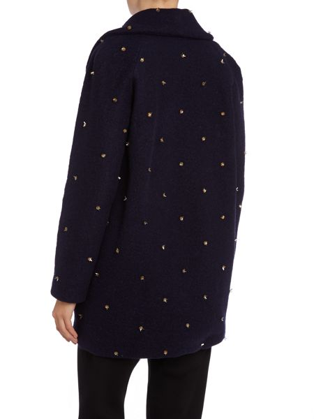 Hoss Intropia Long sleeve coat with beaded detail