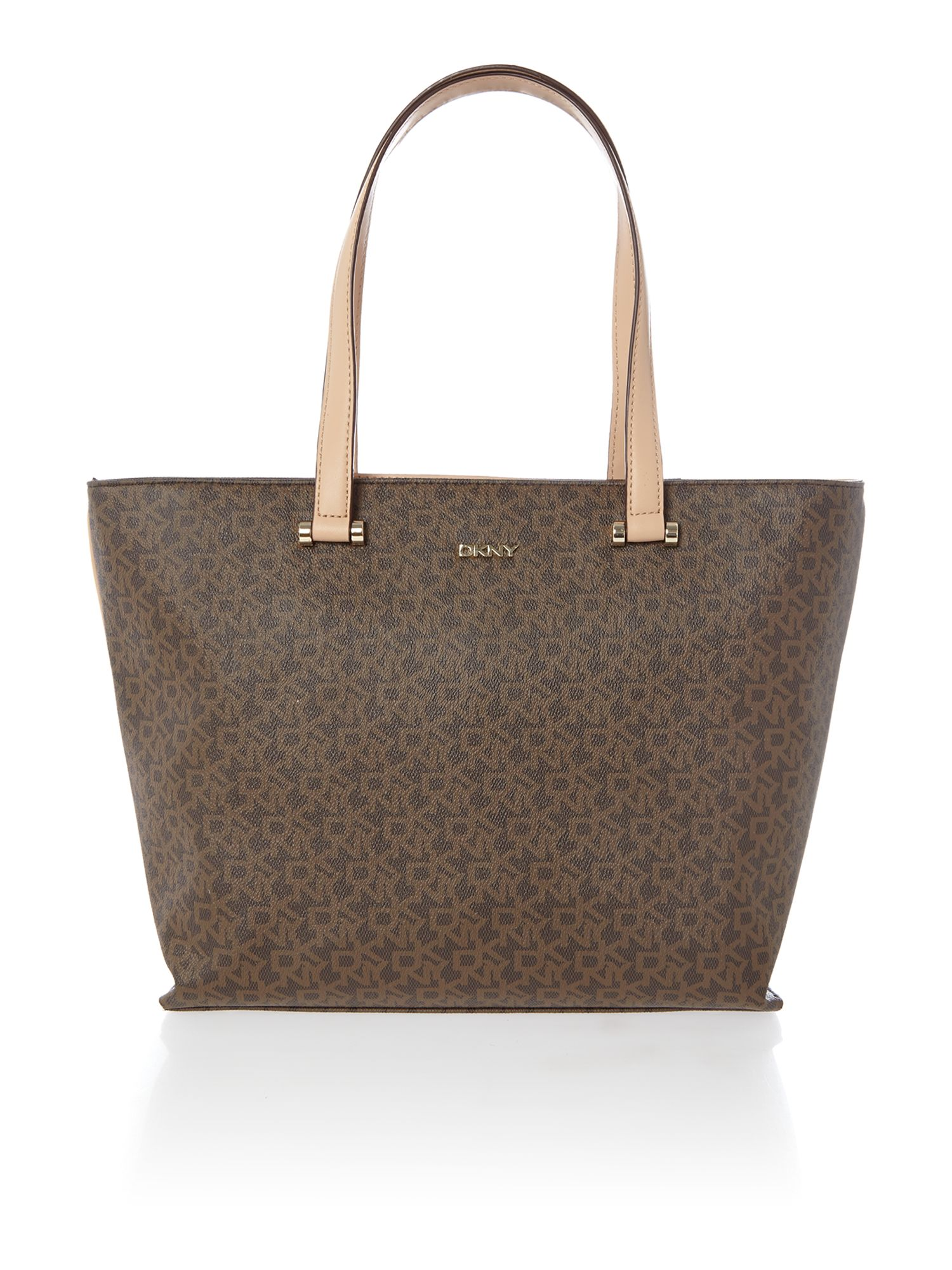 Coated logo brown tote bag