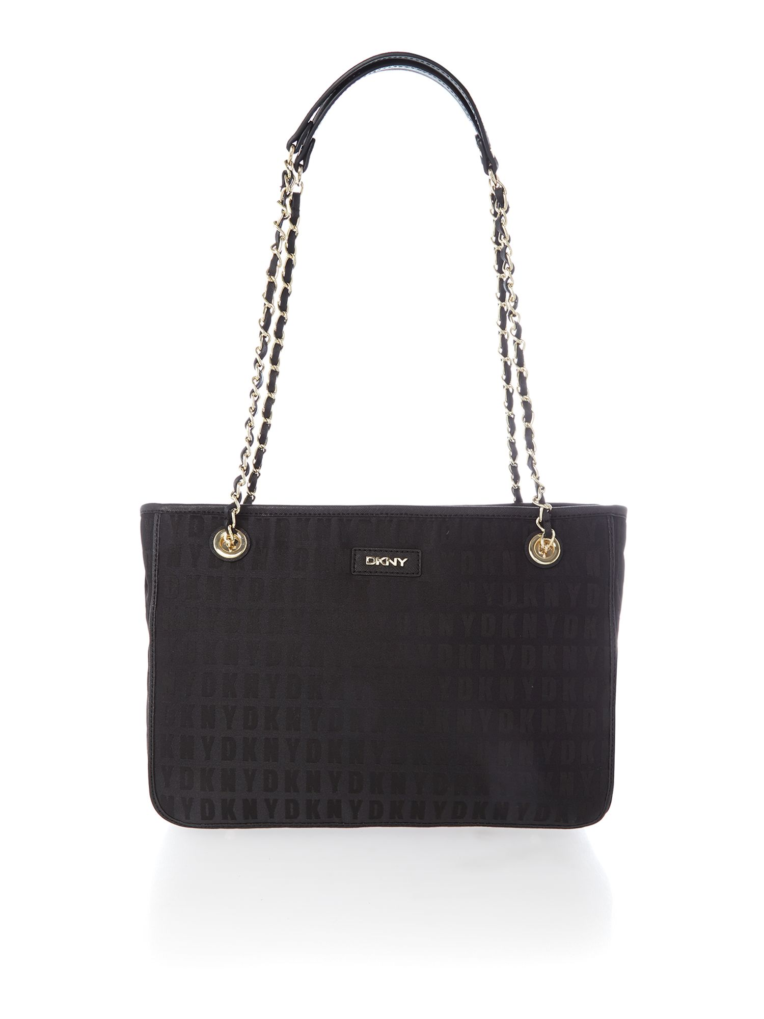 Black chain tote bag