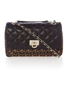 Quilted nappa black flap over chain cross body