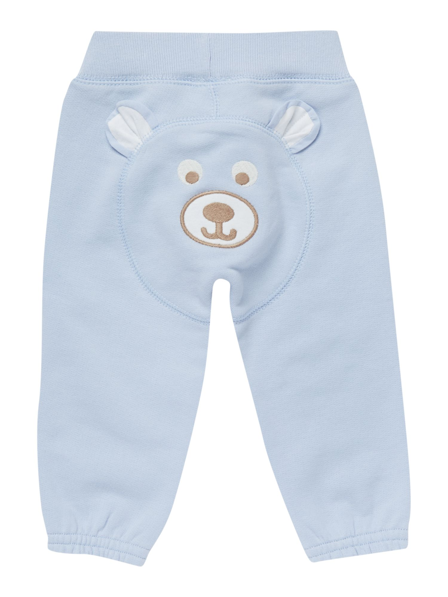 Baby boy track pant with bear applique on reverse