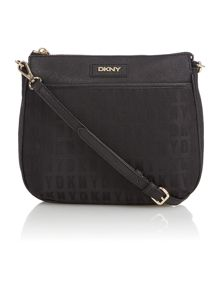 Black top zip cross body bag