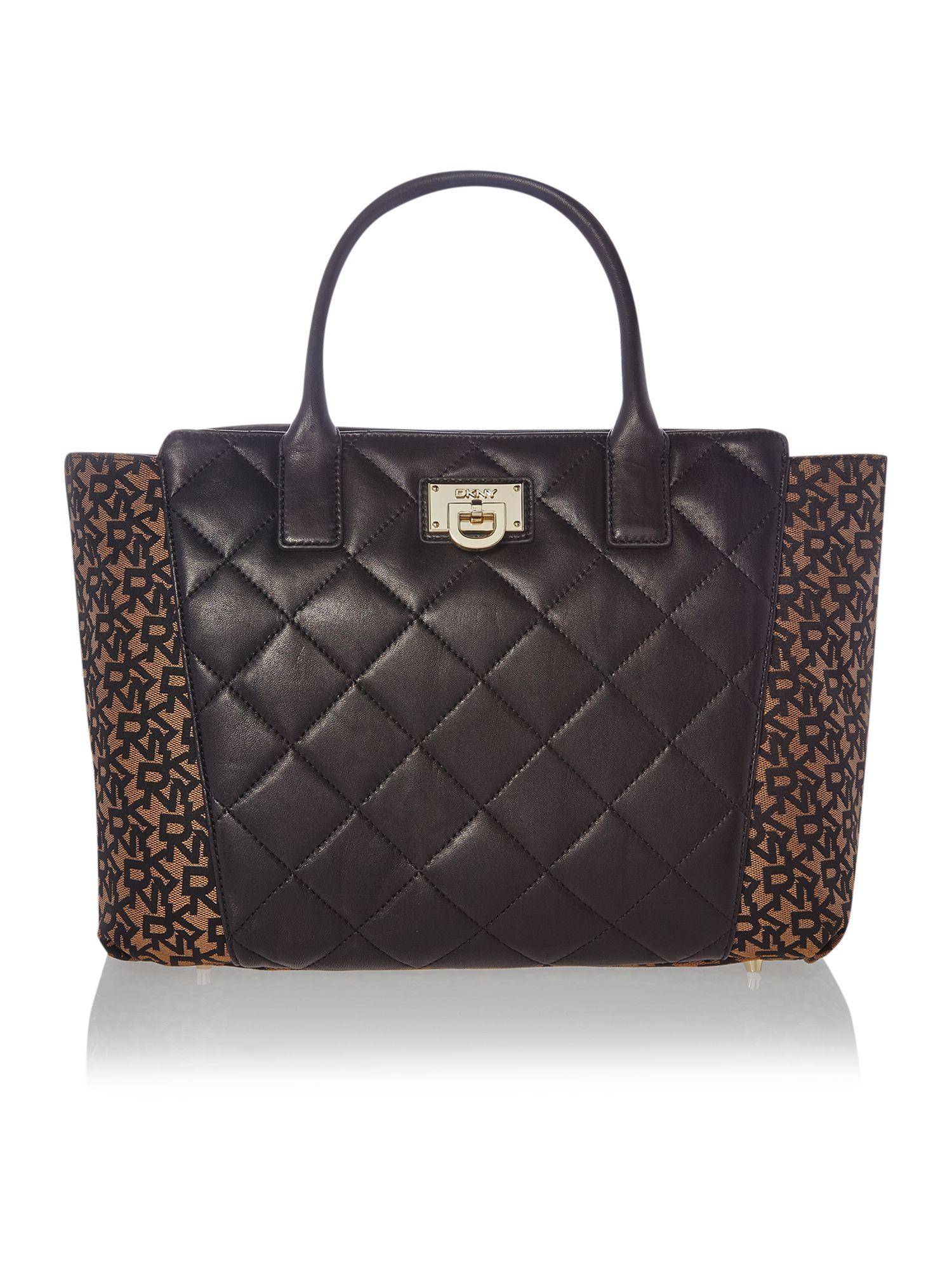 Quilted nappa black large tote bag