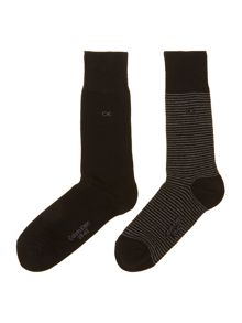 2 pack fine stripe sock