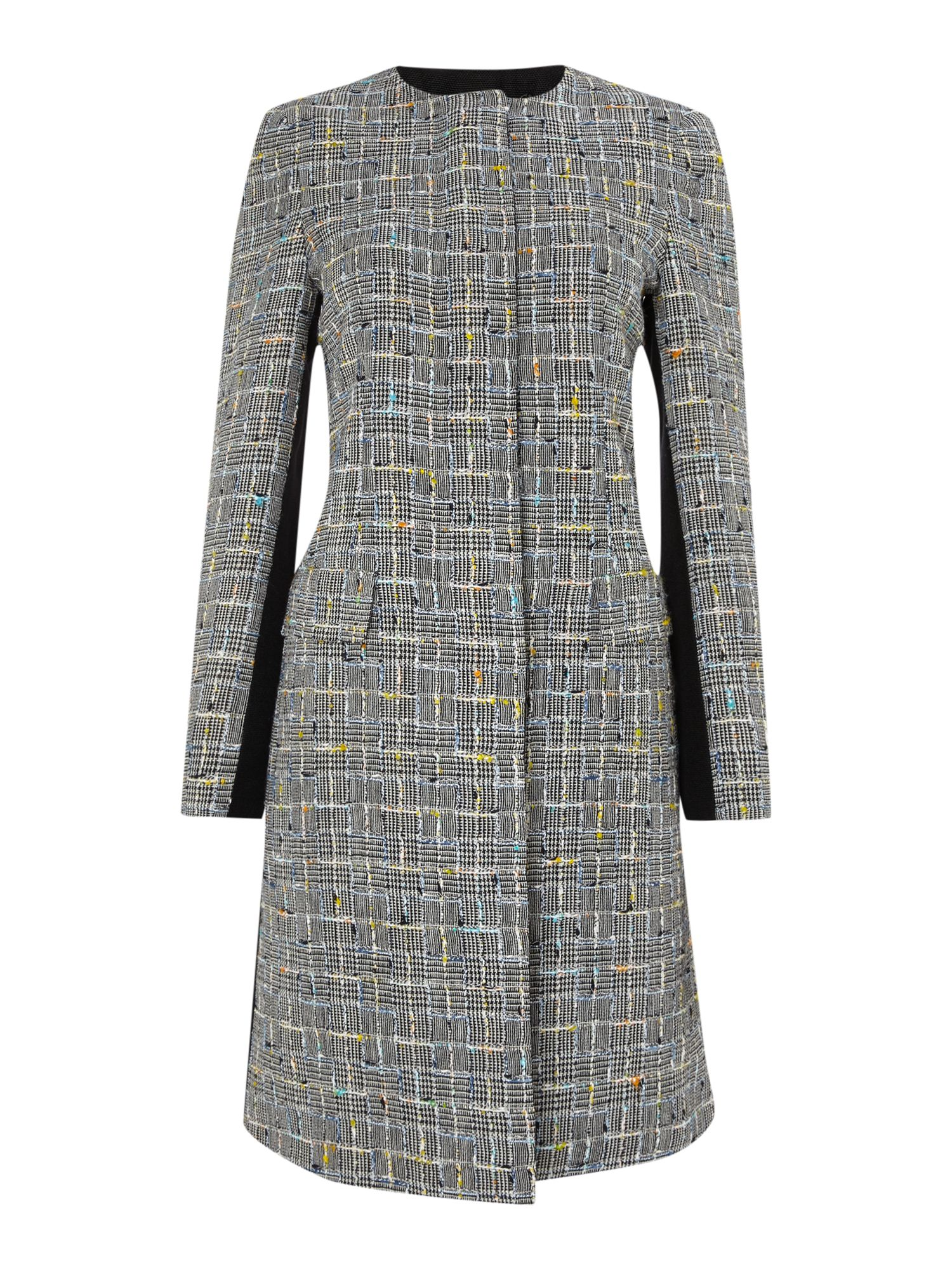 Collarless checked wool coat