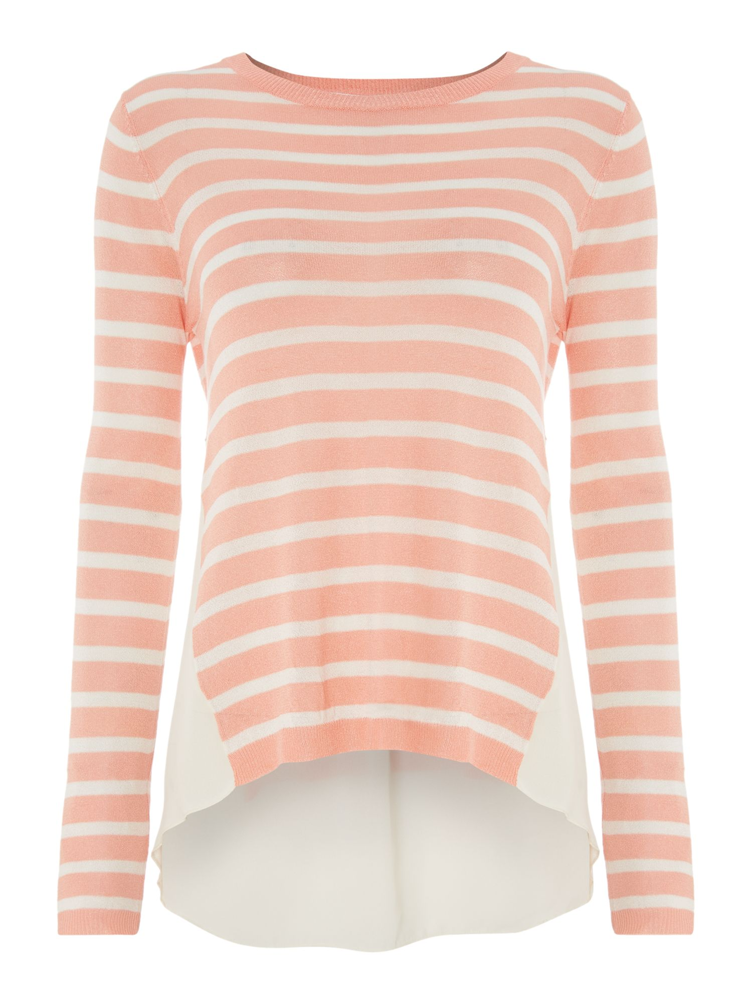 LS STRIPED CHIFFON BACK TOP