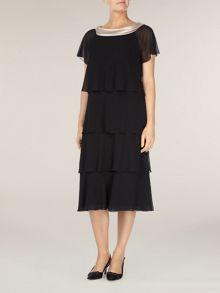 Tiered contrast cowl dress