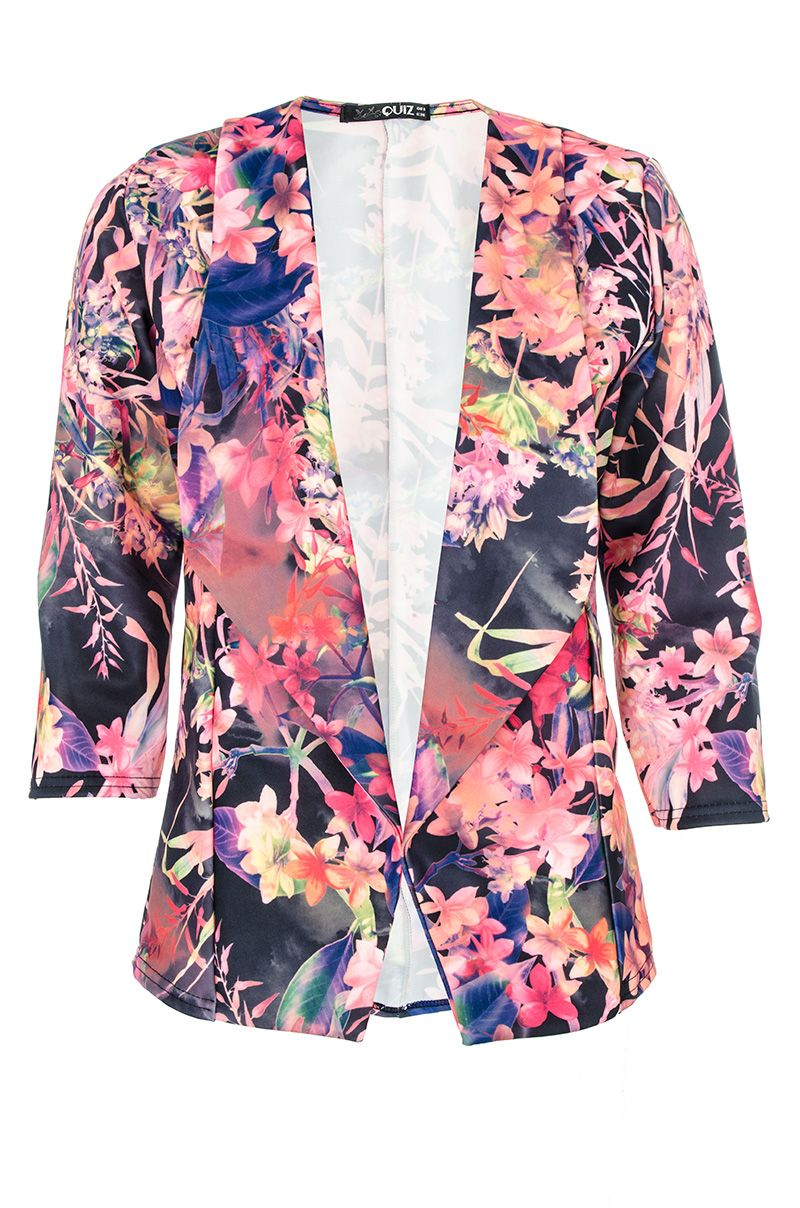Flower print waterfall jacket
