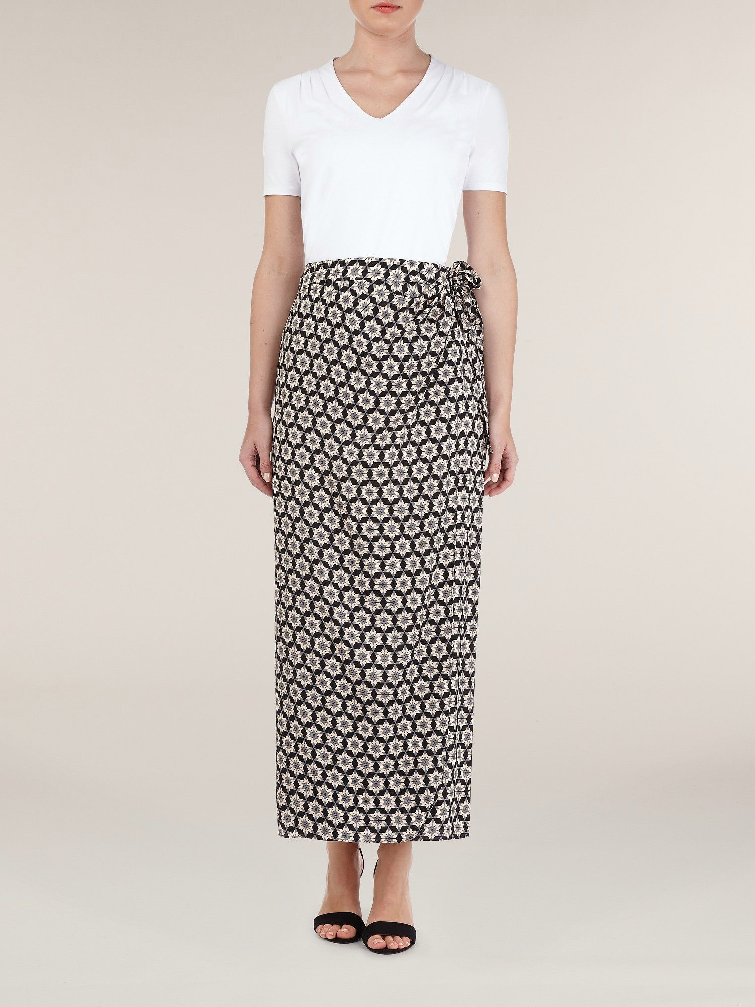 Tile Print Maxi Wrap Skirt