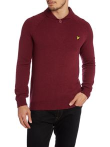Shawl neck button down pull over
