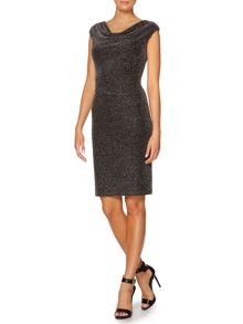 Drape neck sheath dress with side tuck