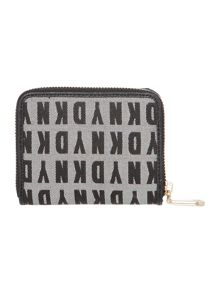 Black small zip around purse