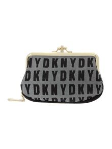 Black double frame small purse