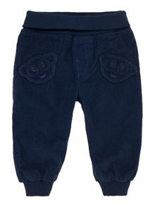 Baby pin cord trousers with bear patch pockets