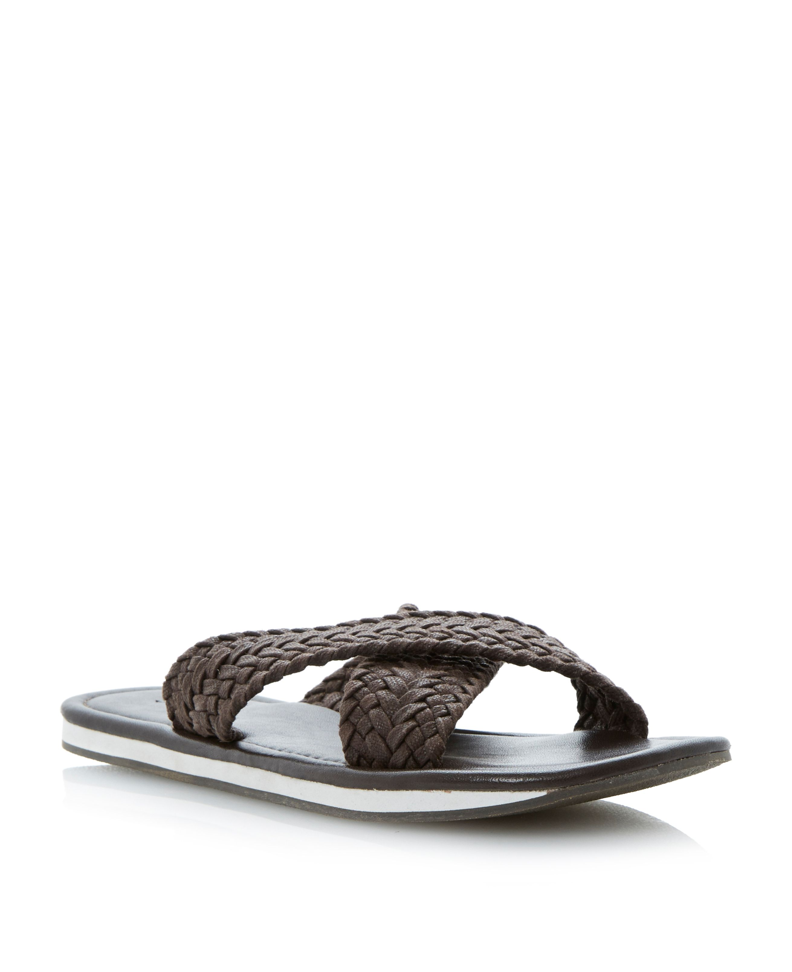 Isaac weave wedge crossover sandals