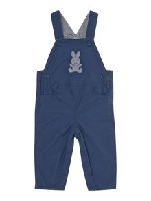Baby dungarees with ticking stripe lining