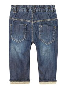 Baby chambray denim trouser with jersey lining