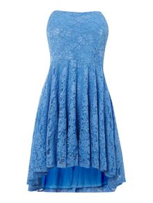 Lace Fit and Flare Strapless Dress