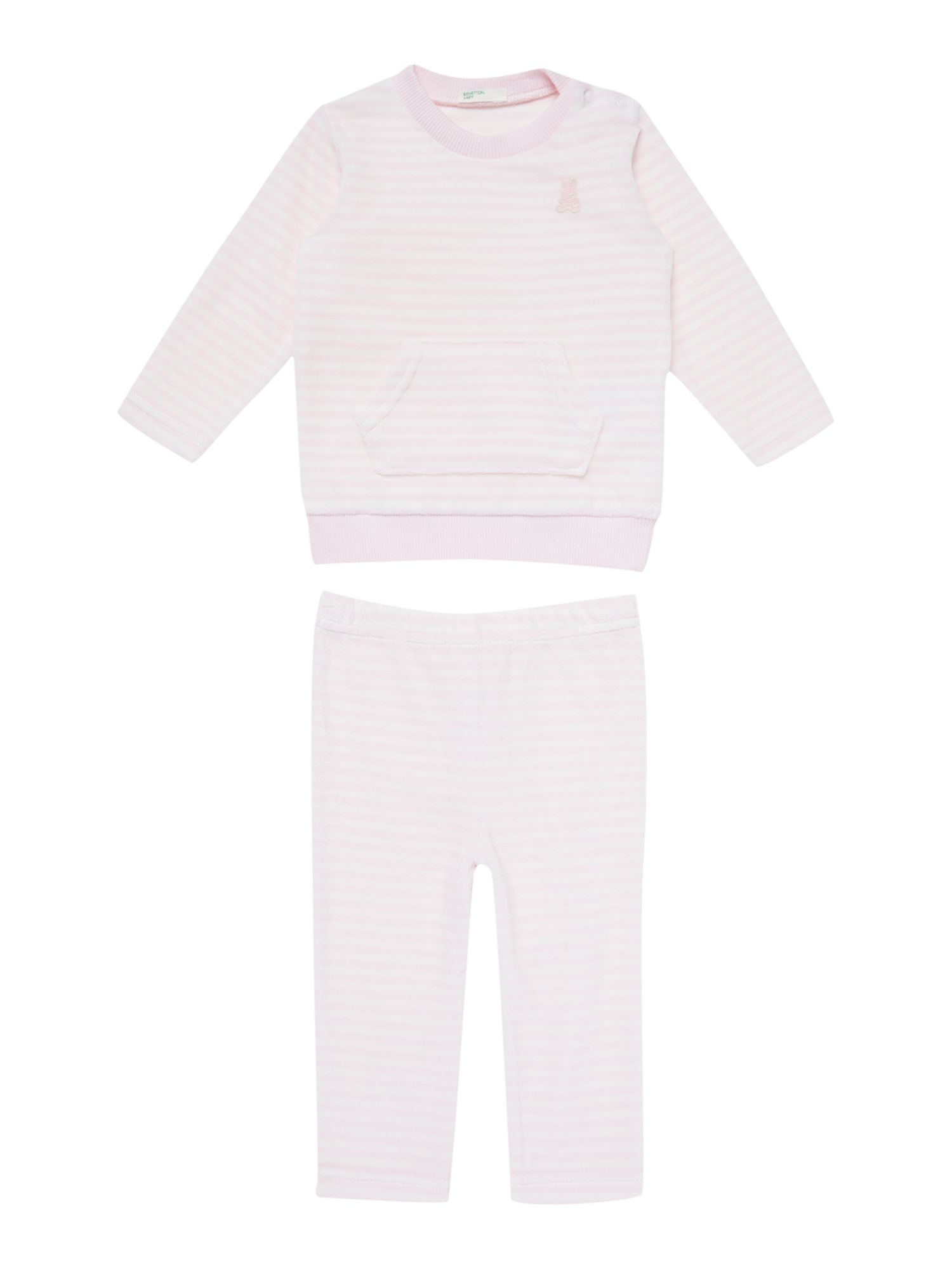 Baby girl striped velour tracksuit set