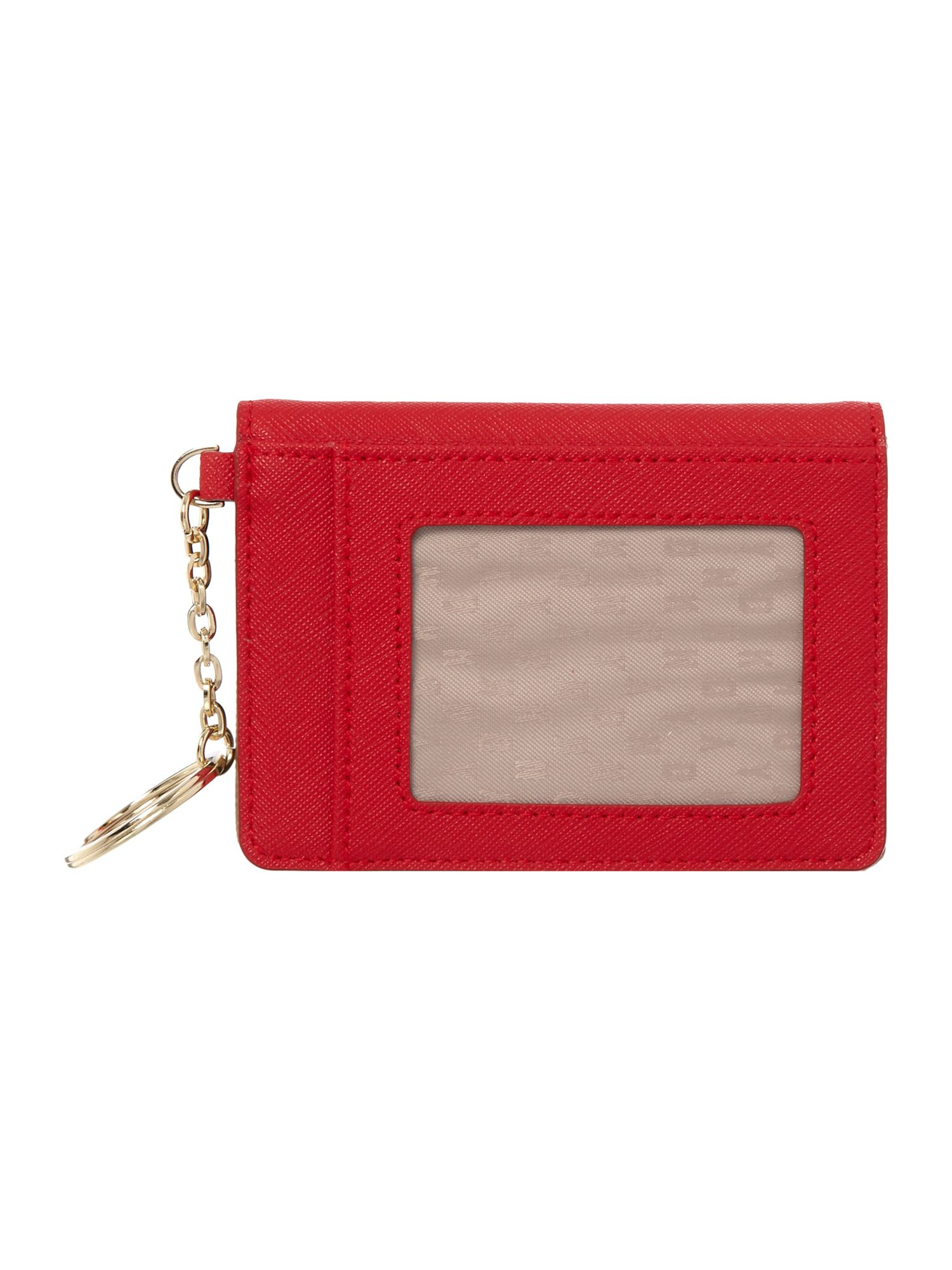 Saffiano red card holder with kew ring